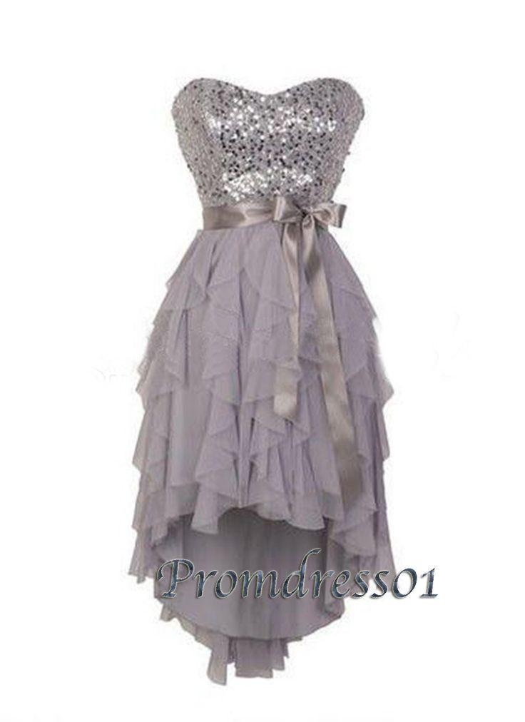Vintage prom dress, cute handmade grey chiffon high-low sequins dress for teens, prom dress 2016 #coniefox #2016prom