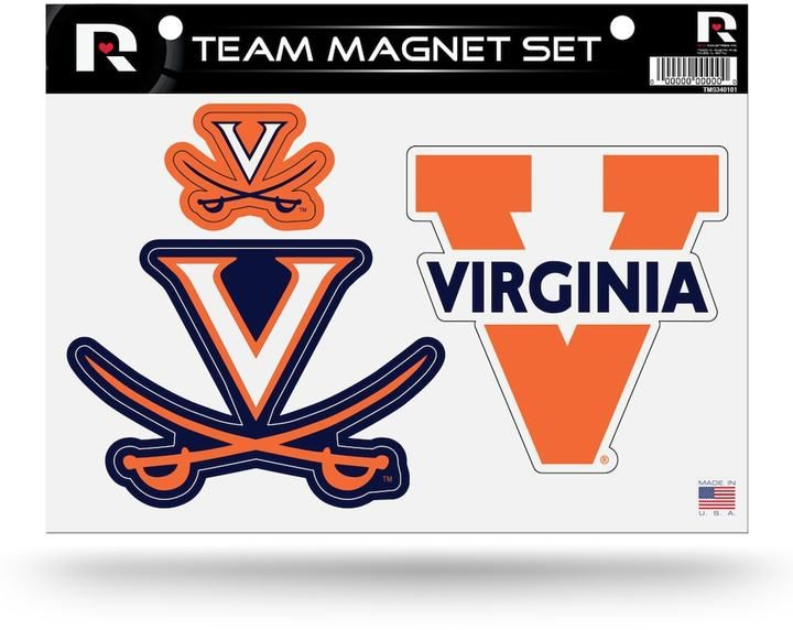 "$14 - NCAA Virginia Cavaliers Team Magnet Set - Official team graphics and colors attracted you to these pride-filled Virginia Cavaliers team magnets. Attaches to most metal surfaces Sheet: 8"" x 11"" Imported Shop our full assortment of Virginia Cavaliers items here. When you're a fan, you're family! Size: Onesize. Color: Multicolor. Gender: Unisex."