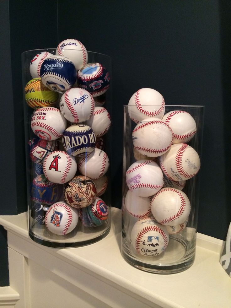 Neat way to display souvenir baseballs. Great for a baseball themed man cave or a boy's bedroom.