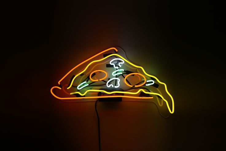 """Pizza Slice Neon Sign   Best food ever. Clean up your wall with this dripping Pizza Slice Neon Sign  20"""" Wide 