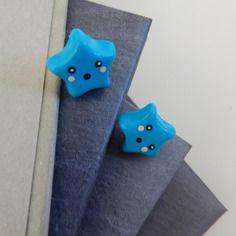 Boucle d'oreille fimo étoile bleu