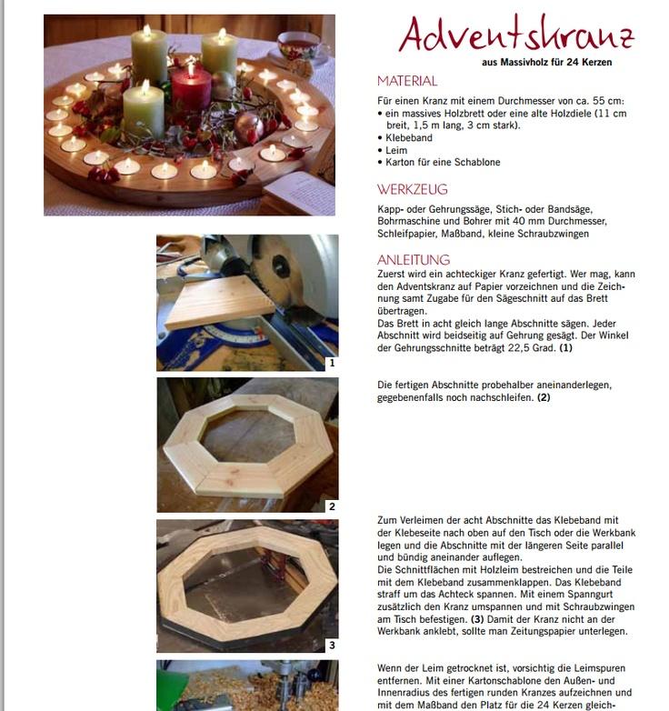 pdf of how to make this wooden advent calendar http://www.landlust.de/dl/3/4/1/3/7/5/Adventskranz.pdf aus massivholz fur 24