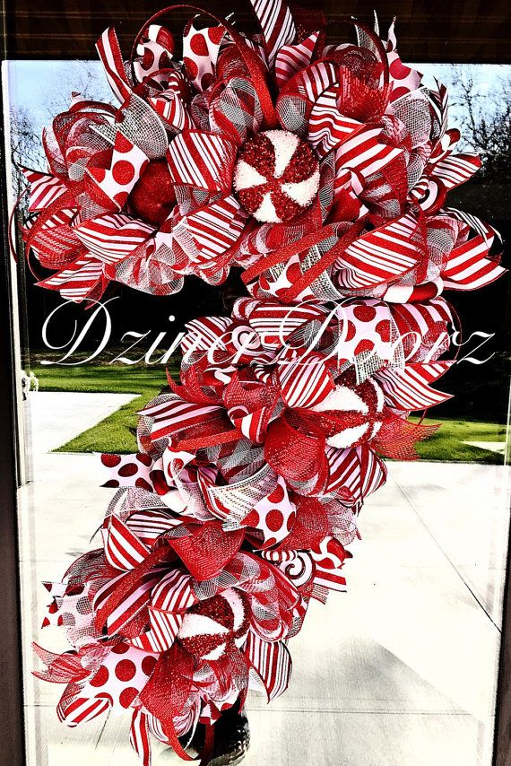 Whimsical Candy Cane deco mesh wreath