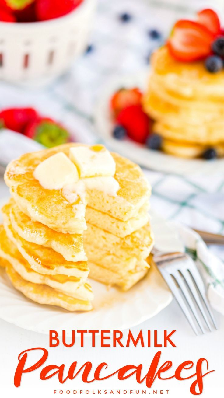 Say Goodbye To Boxed Pancake Mix Because These Fluffy Buttermilk Pancakes Are Buttery And Have The Most Amazing Melt In Favorite Dessert Recipes Recipes Food