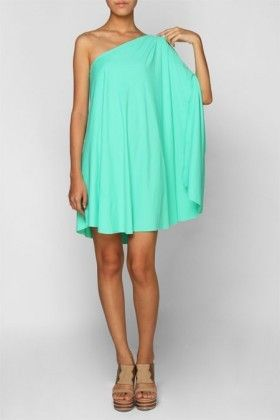 Love the color...mint: Summer Dresses, Fashion, Mint Green, Summer Wedding, Style, One Shoulder Dresses, Cute Dresses, Colors, The Dresses