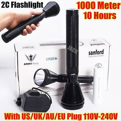 2C SIZE Sanford 1000Meter CREE LED TACTICAL RECHARGEABLE POLICE FLASHLIGHT TORCH