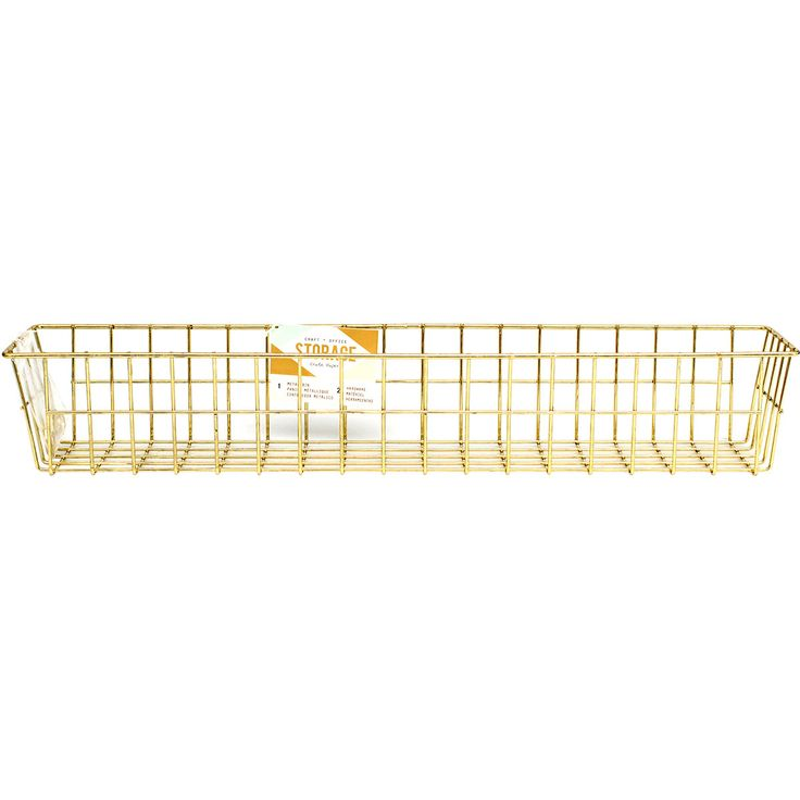 wire system metal storage bin medium gold - Metal Storage Bins