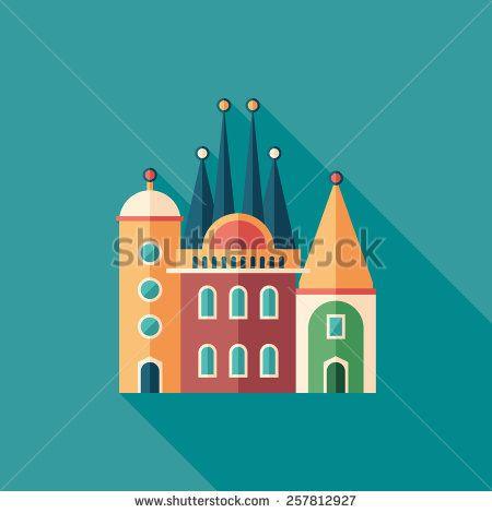 Fairy tale castle flat square icon with long shadows. #buildingicon #flaticons #vectoricons #flatdesign
