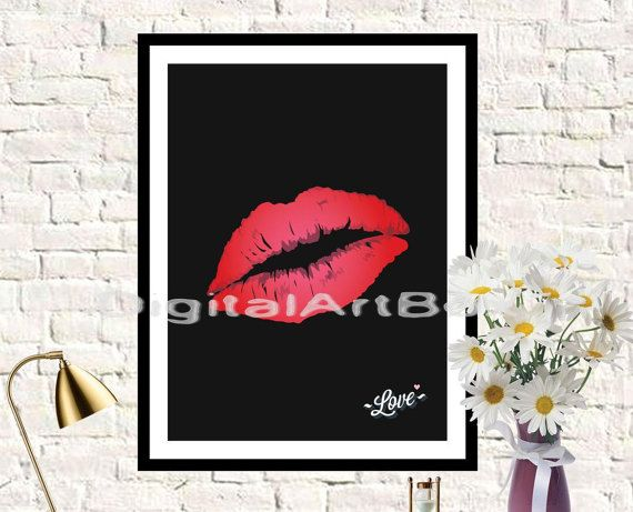 Sexy GirlDIY PosterLips Printable 8x10 Always by DigitalArtBox