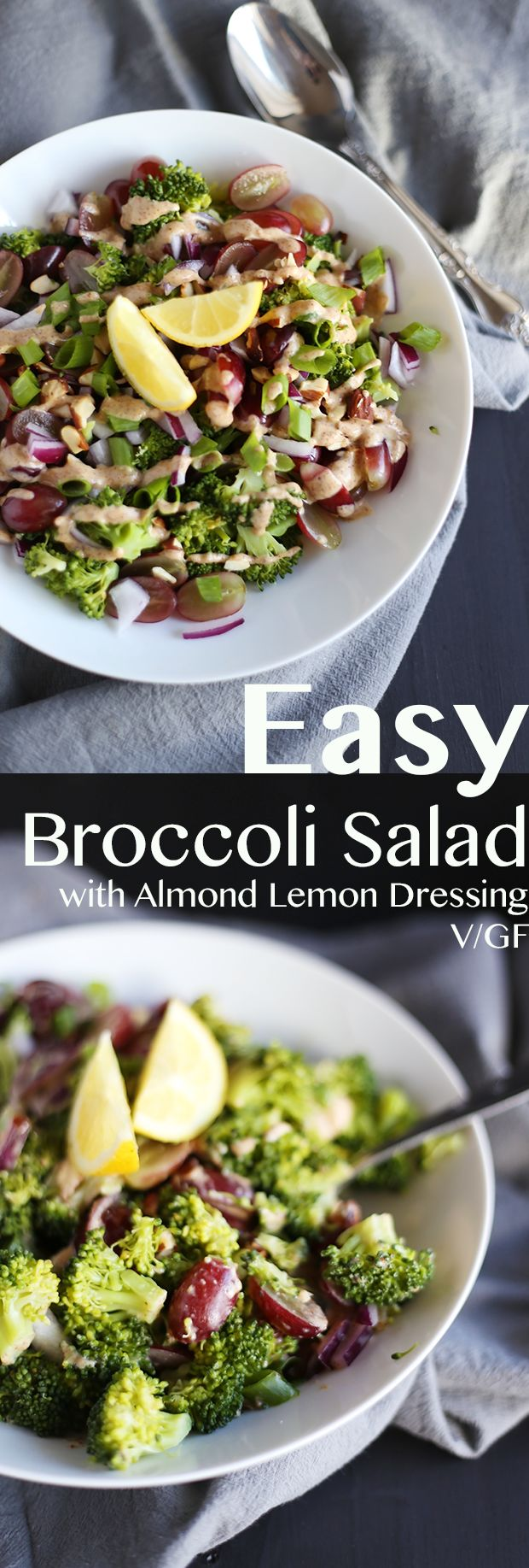 This Easy Broccoli Salad with Almond Lemon Dressing is super healthy! It includes broccoli, almonds, grapes, onions and an almond butter lemon dressing! Quick and easy to make, Vegan and Gluten free!   TwoRaspberries.com