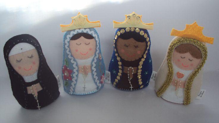 Santinhas em feltro: Santa Rita, Nossa Senhora, Nossa Senhora Aparecida e Nossa Senhora de Fátima