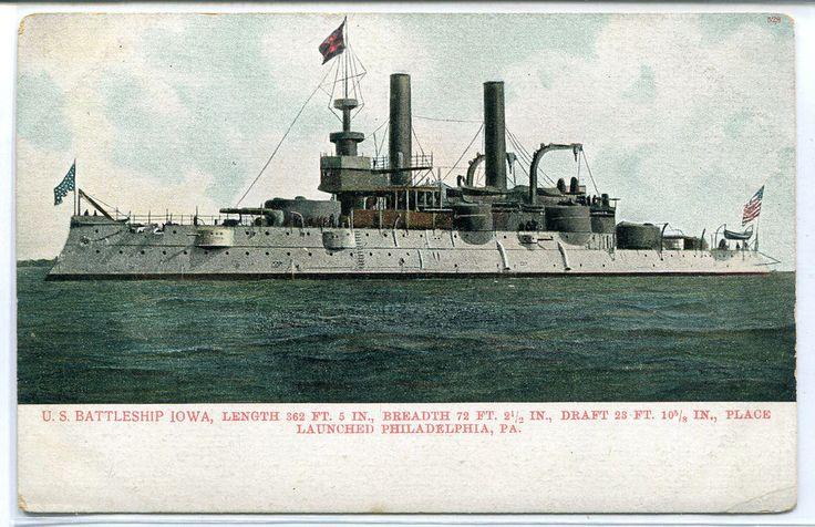 USS Iowa US Navy Battleship Ship 1907c postcard