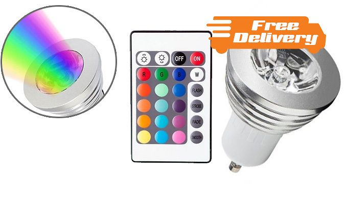 Buy 4 LED Dimmable Colour-Changing Light Bulbs for just £12.99 Create the perfect ambience with 4 LED Dimmable Light Bulbs      Change the light to a variety of colours to suit your mood      Remote control included so you can turn on, off or alter with ease      Great for bedrooms, entertainment rooms, kitchens, reading lights and more      Lighten up with a special offer on 4 LED Dimmable Light Bulbs BUY NOW for just GBP12.99