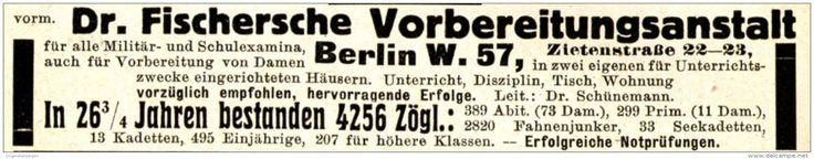 Original-Werbung/ Anzeige 1915 - FISCHERSCHE VORBEREITUNGSANSTALT /  BERLIN - ca. 115 x 20