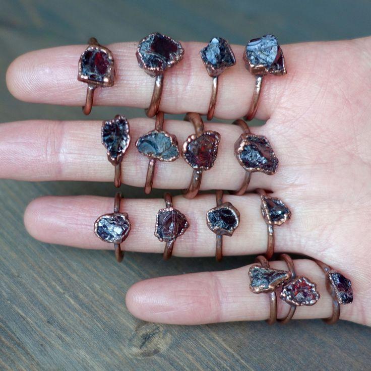 Raw garnet ring | Raw crystal ring | Raw stone ring | Electroformed ring | Raw ring by HeartHouseStudio on Etsy