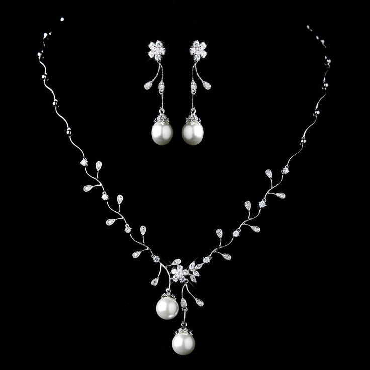 25 cute wedding jewelry sets ideas on pinterest bridal diamond white pearl and cz wedding jewelry set junglespirit Image collections