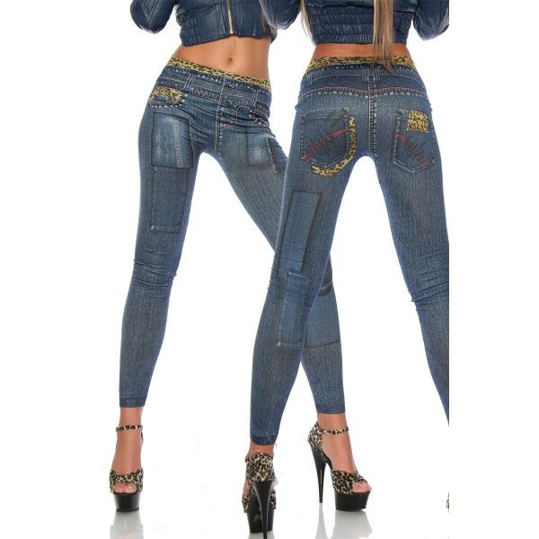 Legging jean avec bandes léopard