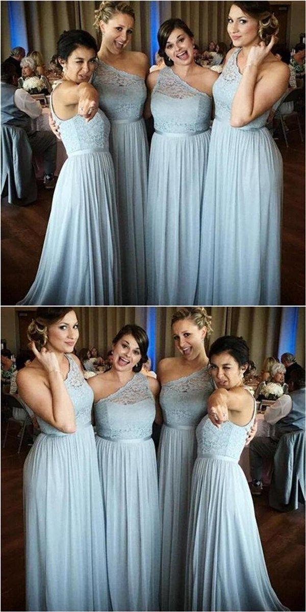Custom Lace One Shoulder Bridesmaid Dresses, Simple Fashion Popular Bridesmaid Dress, PD0431