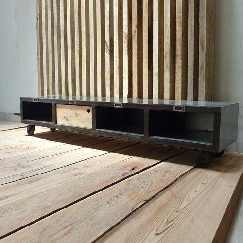 Meuble TV en métal 4 casiers Brooklyn CAB