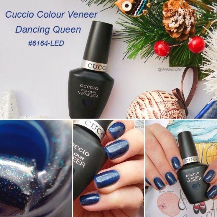 """Отличный вариант для новогоднего маникюра - гель-лак Cuccio Colour Veneer """"Dancing Queen"""" с зеленовато-синим подтоном и огромным количеством голографического шиммера, который придает маникюру мерцание, глубину и объемность."""