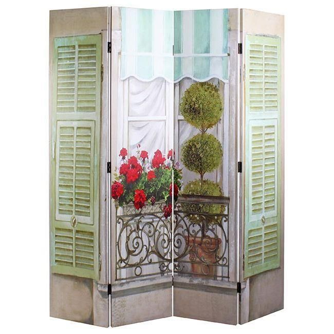 Stunning wooden #Screen #window and #flowers. www.inart.com