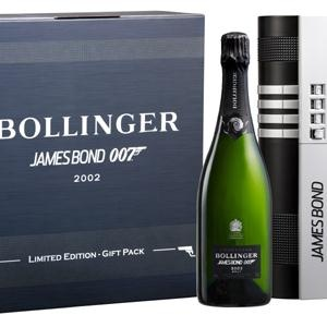 Bollinger Champagne and James Bond 007. Available at Boucherville in Zurich. 2002 Vintage Champagne with 94 Parker and Wine Spectator points). This special edition celebrates 40 years of partnership between the two brands and 50 years of James Bond.
