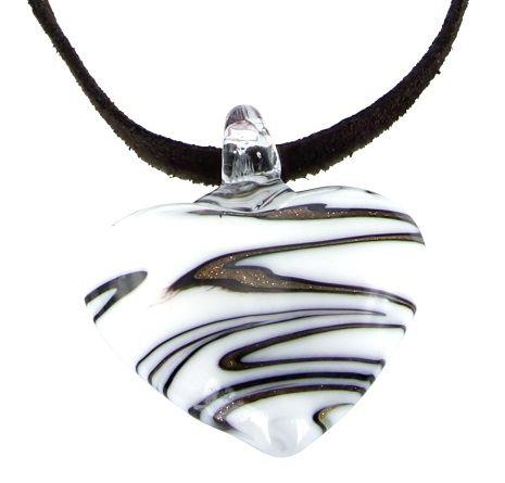 4in1 Lederketting Set L-XL ca. 45+5cm Leder ketting met prachtige hanger. Glass Art: Design kan afwijken van de afbeelding.