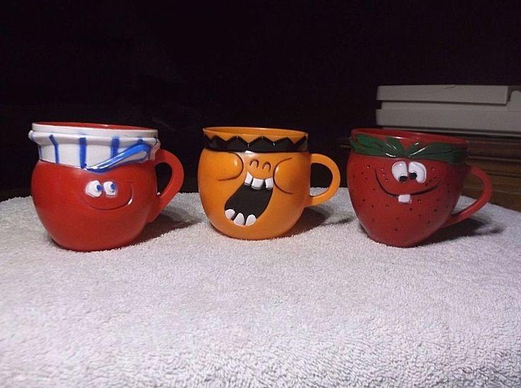 3 Vintage Pillsbury Kool Aid Funny Face Fruit Plastic Mugs #PILLSBURY
