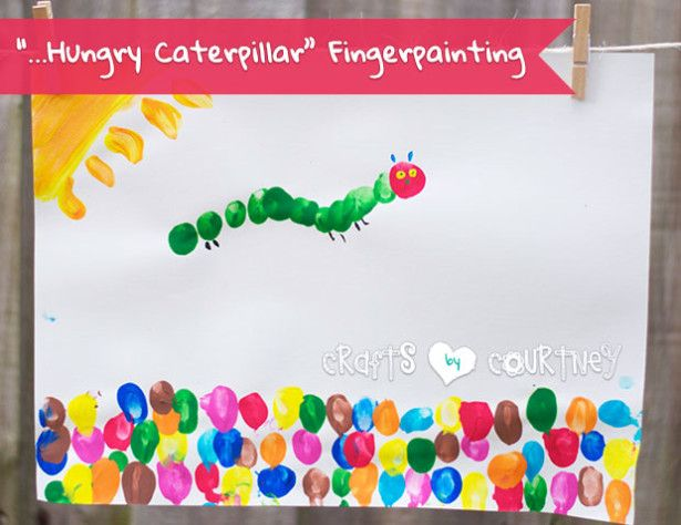 Finger Painting The Very Hungry Caterpillar Craft