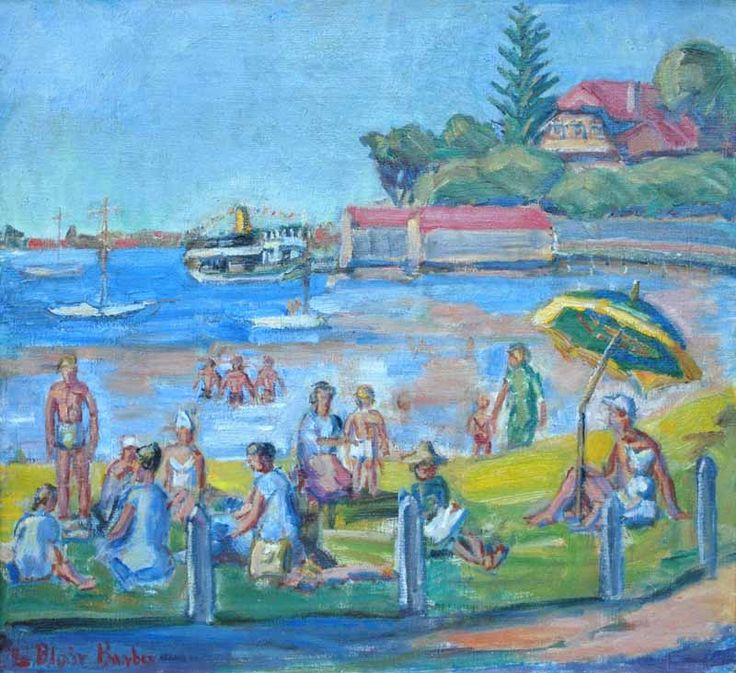 """Swan River Picnic, Peppermint Grove"", 1960, by Elisabeth Blair Barber (1909-2001), Oil on Canvas, 51 x 56cm."