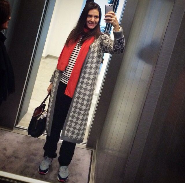 Margherita Missoni wearing Tak.Ori Made in Italy houndstooth cardigan from FallWinter14 collection