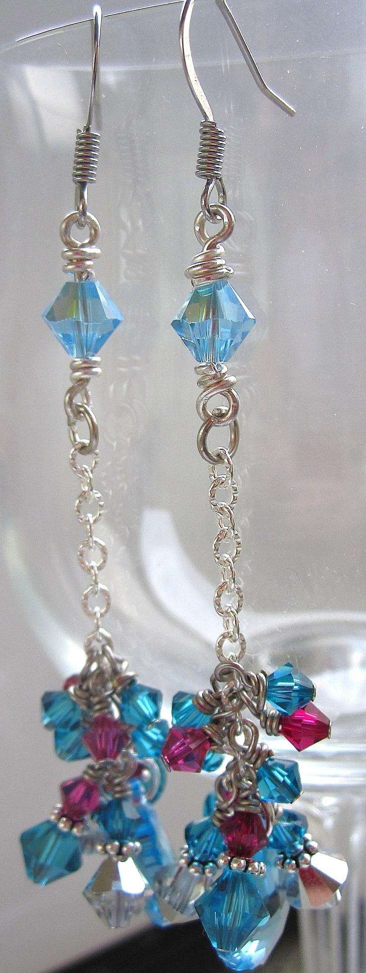 Blue and Purple Swarovski Drop Earrings
