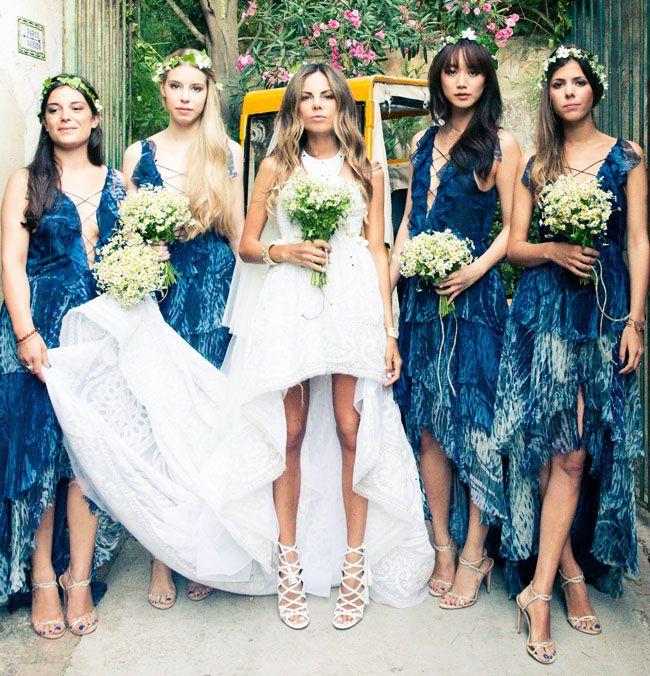 bridesmaids in indigo dresses, so gorgeous!