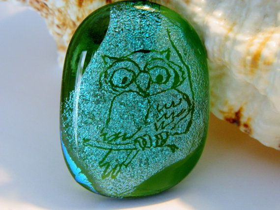 Engraved Owl Green Fused Dichroic Glass Pendant by uniquenique, $28.00 #onfireteam #teamfest #hollerh #lacwe: Accessories Jewelry, Owl Green, Beautiful Pieces, Owl Jewelry, Beautiful Collections