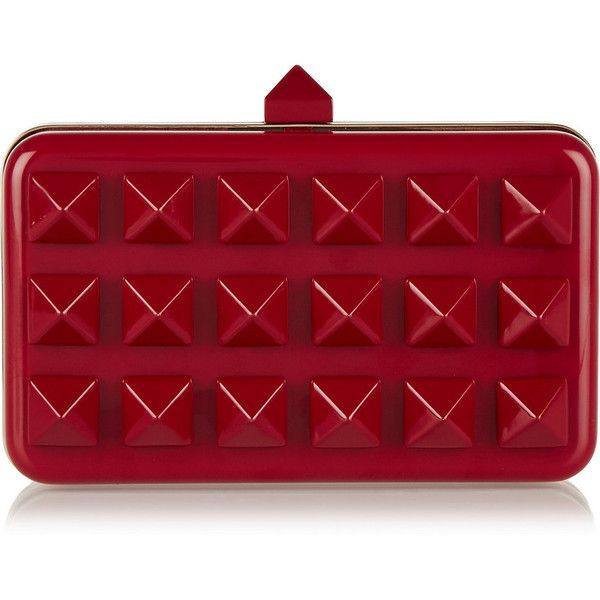 Valentino Studded acetate clutch found on Polyvore featuring bags, handbags, clutches, studded purse, clasp purse, red clutches, chain strap purse and valentino handbags