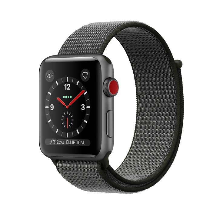 Shop Apple Watch Space Grey Aluminium Case with dark-green Sport Loop in 38mm and 42mm. With built-in cellular. Buy now with free delivery.