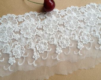 Tulle Lace Trim Flral Cotton Embroideried Lace 3.5 by Lacebeauty