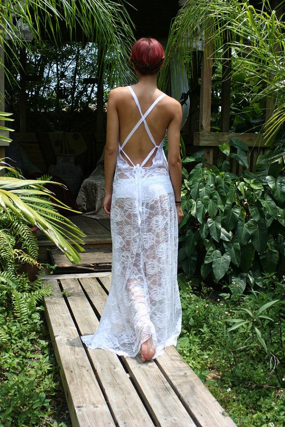 White Lace Backless Nightgown Bridal Lingerie Wedding Honeymoon Summer Cruise Sleepwear