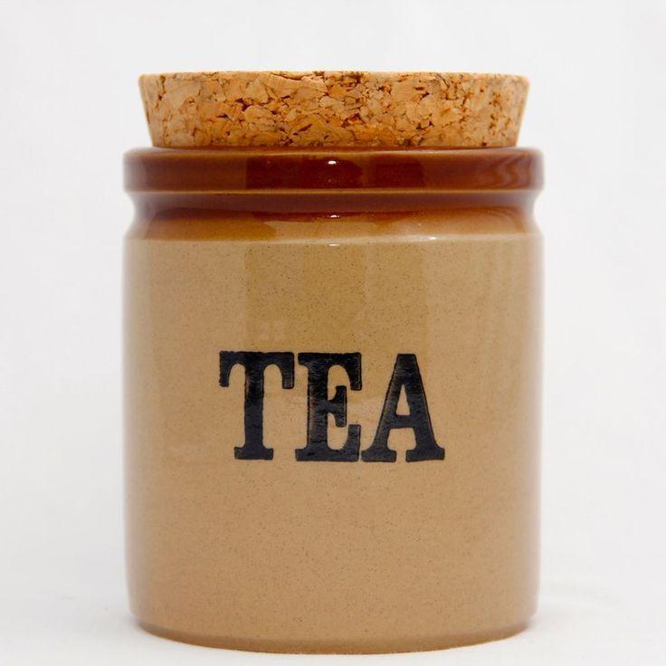 Moira Two Tone Tea Jar CaddyEnglish Cottage Stoneware 5.25in Tall Vintage