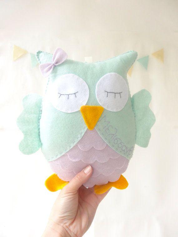 Personalized Owl Stuffed Animal with name Felt by LaPetiteMelina, $28.00