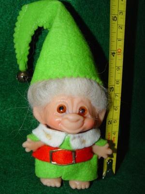 """VTG 60's Troll Doll 2 1/2""""  Dam Christmas Elf  w/4"""" White Mohair"""