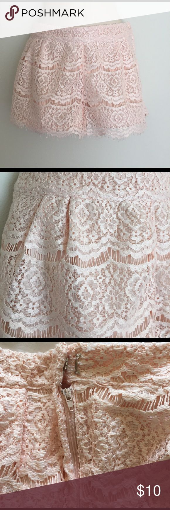Pink lace shorts by forever 21 Peachy pink lace shorts. Perfect for summer. Hidden zipper and hook closure on the side. Size medium. Forever 21 Shorts