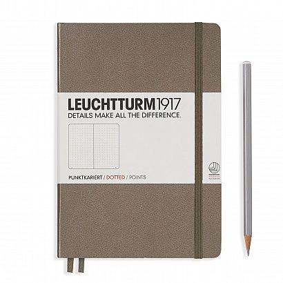 Notebook Medium (A5) Hardcover, 249 numbered pages, dotted, taupe