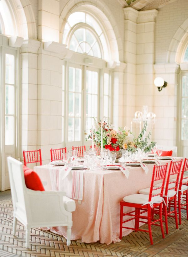 How to Add a Pop of Color to Your Wedding: Wedding Inspiration, Red And Pink, Event, Tablescapes, Colors, Chiavari Chairs, Colored Chairs, Red Wedding