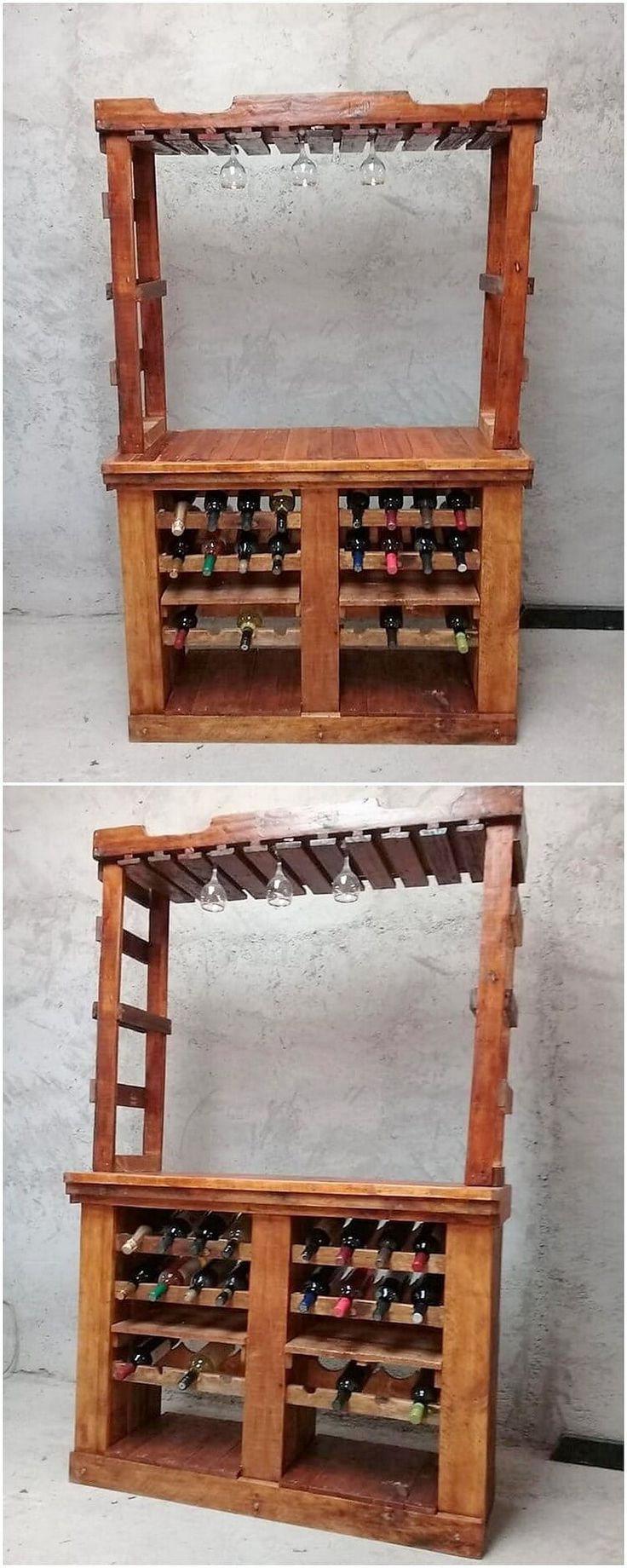 We are sure that checking out this image, will be pleasantly forcing you to add this wine rack framework pallet designing in your house right now. It might be rather simple in designing but locating it in your house will add up inspiring effects. See the image to get some idea!