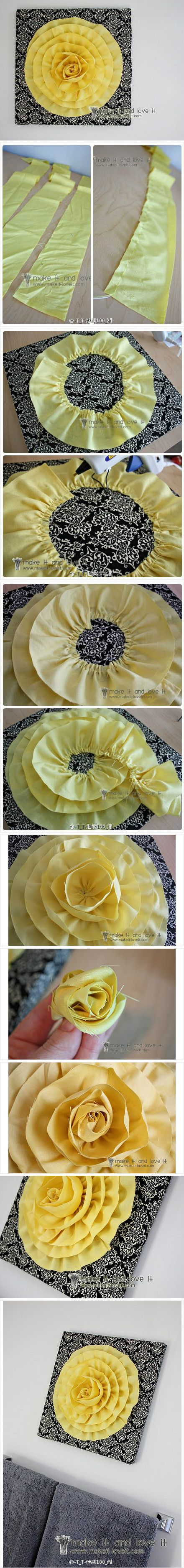 LOVE this!!!! Now I just need to learn to sew in circles...Wall Art, Clothing Flower, Wall Hanging, Fabrics Flower, Flower Crafts, Diy Tutorial, Paper Flower, Flower Decor, Teen Crafts