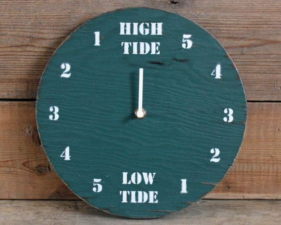 tide clock green and white painted driftwood by - Tide Clock