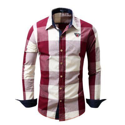 New Checker Plaid Long Sleeve Men's Dress Shirts 4 Colors