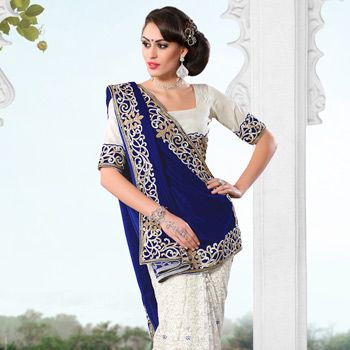 Wow, this looks so different! Blue and Off White Velvet and Chantelle Net Saree with Blouse