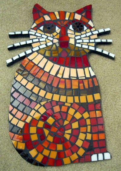 Grand chat rouge impertinent de moustaches mosaïque mosaïque vitrail Wall Art *** nouveau bas prix *** et US FREE Shipping